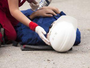 worker lying on the floor